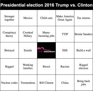 Beursmeesters bingo Clinton Trump